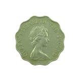 2 Dollar Hong Kong-Münze lokalisiert auf weißem Hintergrund Stockfotos