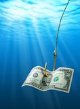 Dollar on the hook. In the sea Stock Photo