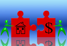 Dollar and house (02). Illustration of the concept of selling real estate Stock Photos