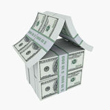 Dollar house. House made from dollars. 3D image Royalty Free Stock Images