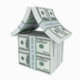 Dollar house. House made from dollars. 3D image Stock Photography