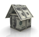 Dollar house. 3d render of house made from dollar notes Stock Photo