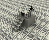 Dollar house. 3d render of house, stairs and plane made up of dollar notes Stock Image