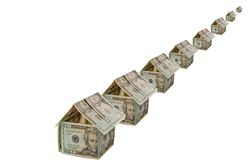 Dollar house. Line of Dollar house. Home for rent or sale Stock Photos