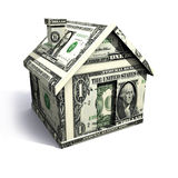 Dollar house. Isolated on a white background Stock Photos