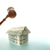 Dollar house and gavel Stock Photos
