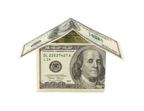 Dollar house isolated on white. Financial concept Stock Photos