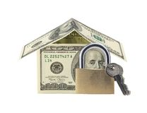 Dollar house and lock with keys isolated on white. Financial con Stock Image
