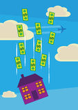 Dollar House Price Drop Royalty Free Stock Image