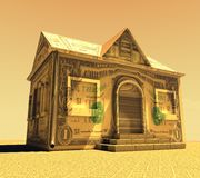 Dollar house with texture sepia background. 3d Dollar house with texture white background for commercial and bank concepts Stock Photos
