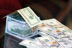 Dollar bills money house Stock Photography