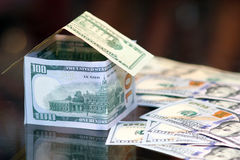 Dollar bills money house Royalty Free Stock Photography