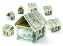 Dollar houses Royalty Free Stock Photo