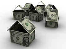 Dollar Houses in 3d Stock Photo