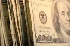 dollar hundra en för billsvaluta oss Royaltyfria Bilder