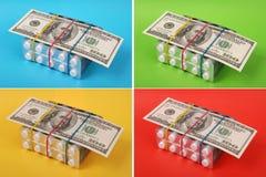 dollar hundra lays som packar vita tablets fotografering för bildbyråer