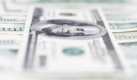 dollar hundra makro en Arkivfoto