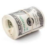 Dollar. Hundred dollar bills rolled up with rubberband. Clipping Path Royalty Free Stock Photo