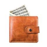 Dollar i handväska Arkivbild