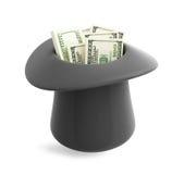 Dollar i magisk hattcylinder Arkivbild