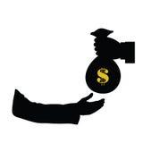 Dollar i påse i handfärgvektor Arkivfoton