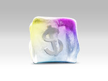 Dollar in ice cube Royalty Free Stock Photography