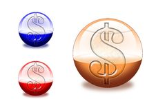 Dollar icon. Three glassy dollar icons for web Stock Images