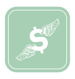 Dollar icon with angel wings on mint background vector illustration. Stock Images