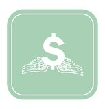 Dollar icon with angel wings on mint background vector illustration. Stock Photos