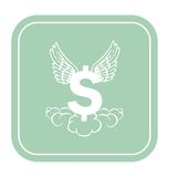Dollar icon with angel wings on mint background vector illustration. Royalty Free Stock Images
