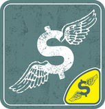 Dollar icon with angel wings on shabby background vector illustration. Royalty Free Stock Image