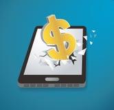 Dollar icon Breakthrough screen smartphone vector. EPS 10 Stock Photo