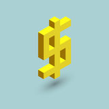 Dollar icon cubes form, isometric US currency sign, vector illustration.  Stock Photography