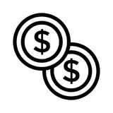 Dollar icon. Dollar thin line vector icon Vector Illustration