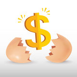 Dollar icon with egg. Dollar icon was born form egg, egg cracking Stock Photo