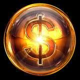 Dollar icon glass. Royalty Free Stock Images