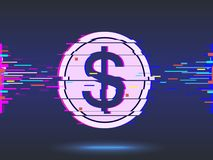 Dollar icon.glitch design,neon icon, abstract background. vector. Dollar icon.glitch design,neon icon, abstract background vector illustration Royalty Free Stock Photo