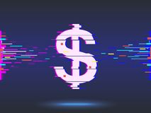 Dollar icon.glitch design,neon icon, abstract background. Dollar icon.glitch design,neon icon, abstract background  illustration Stock Images