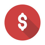 Dollar icon. Glyphs Shadow Icon Royalty Free Stock Images