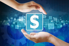 Dollar icon in hand Stock Image