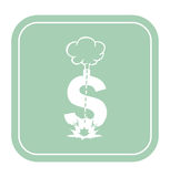 Dollar icon like a bomb on mint background vector illustration. Royalty Free Stock Photography