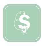 Dollar icon like a bomb on mint background vector illustration. Royalty Free Stock Images