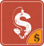 Dollar icon like a bomb on red background vector illustration. Royalty Free Stock Photos