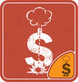 Dollar icon like a bomb on red background vector illustration. Stock Photos