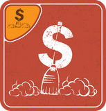 Dollar icon like a cleaner on red background vector illustration. Stock Photo