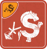 Dollar icon like konkur horse on red background vector illustration. Stock Photography