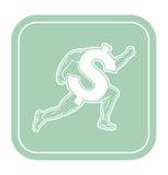 Dollar icon like runner on mint background vector illustration. Stock Photo