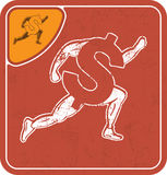 Dollar icon like runner on red background vector illustration. Royalty Free Stock Photo