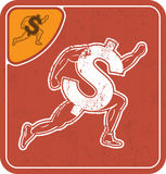 Dollar icon like runner on red background vector illustration. Royalty Free Stock Images