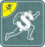 Dollar icon like runner on shabby background vector illustration. Royalty Free Stock Images